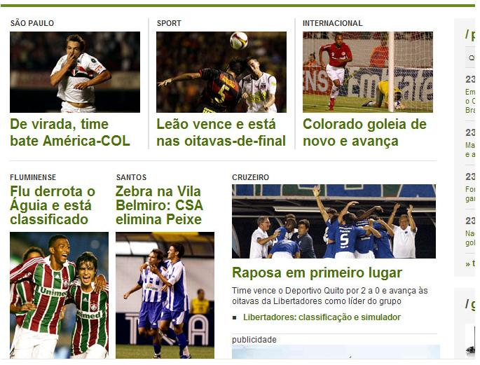 Capa do globoesporte.com